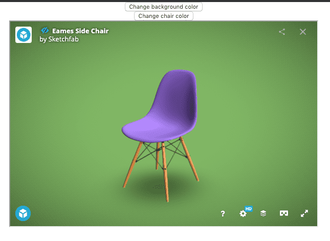 The viewer with the chair color changed