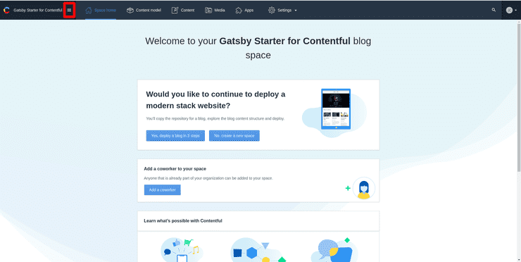 Create a new project in Contentful step 1/2