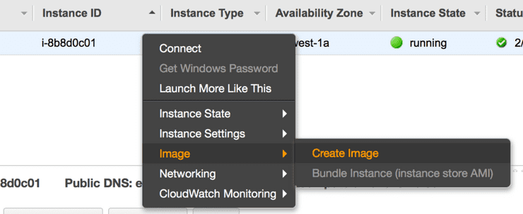 Creating a new AMI from an EC2 instance.