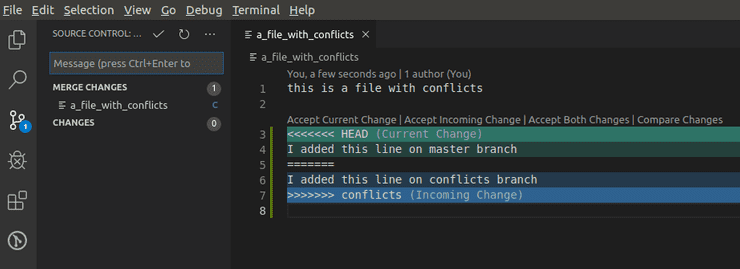 conflicts vs code