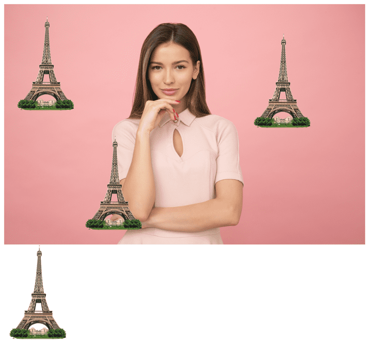 Woman in a pink dress with eiffel tower stickers